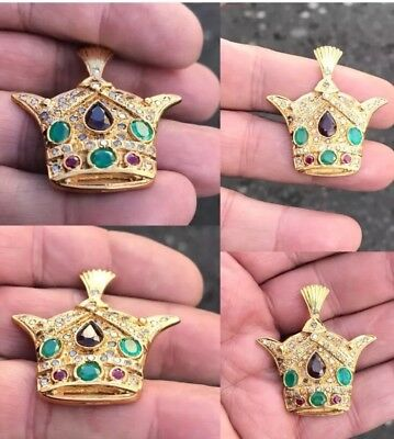 Antique 18ct Gold Islamic Persian Reza Shah Pahlavi Crown Emerald Diamond Ruby &