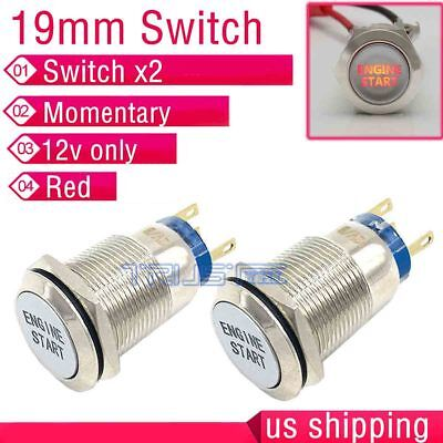 2x19mm Blue LED Momentary Ignition ENGINE START Metal Switch Push Button Lighted