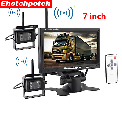 """7"""" Wireless Monitor 2x CCD Rear View Backup Night Vision Camera Kit For Truck RV"""