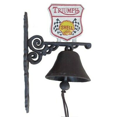 Cast Iron Triumph Shell Bell Door Antique Style On Bracket Wall Mounted