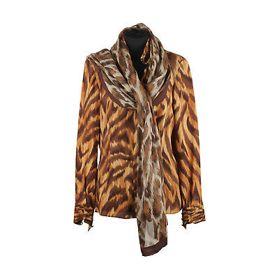 25df7d42df2d5e Authentic Valentino Animalier Print Silk Blouse with Scarf Size 8