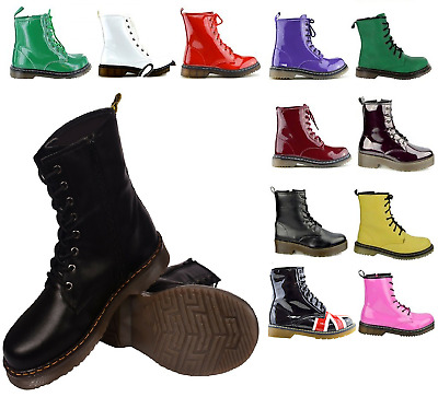 Ladies Womens Retro Punk Combat Winter Lace Up Ankle Boots All Colours Sizes