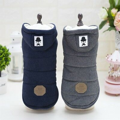 USA Winter Pet Dog Warm Coat Clothes Cotton Padded Hooded Jacket Puppy Costumes
