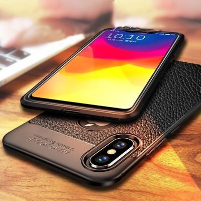 For iPhone XS XS Max XR X Slim Soft TPU Leather Case Shockproof Ultra Thin Cover