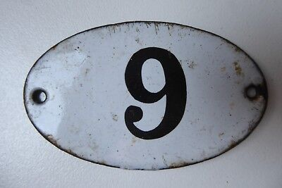 """Antique French Enamel House Number """" 9 """""""