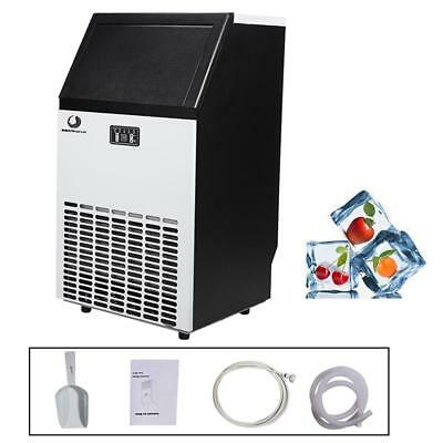 Stainless Steel Commercial Ice Maker 100lb/24hr Home Use Portable Free Stand