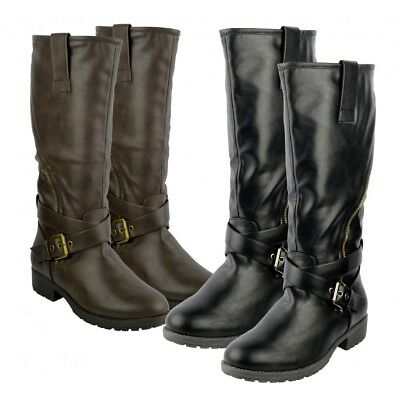Women's Faux Leather Flat Grip Sole Winter Military Fashion Long Black Boots