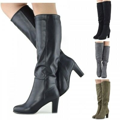 Womens Knee High Boots Ladies Sale Block Heel Casual Shoes Party Girls Fashion