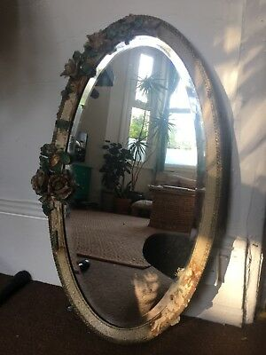 Antique Oval Mirror Upcycled Floral