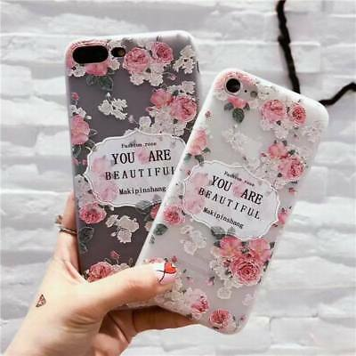For iPhone XS XS Max XR 3D Cute Rubber Soft Silicone Flower Pattern Case Cover