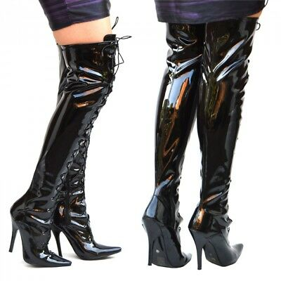 Womens Over the Knee Boots Lace up Tie Pointed Stiletto Latex Shine Black Zip up