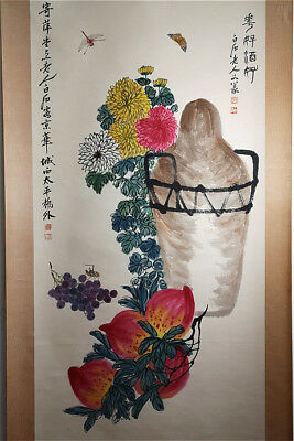 Excellent Chinese 100% Hand painted Scroll & Painting Flowers By Qi baishi 齐白石 D