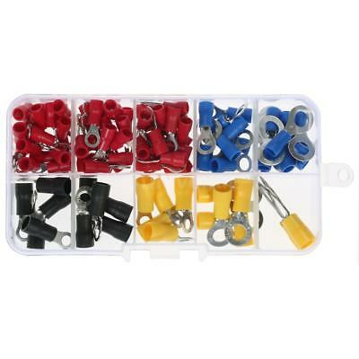 102pcs Insulated Crimp Terminals Electrical Wire Connector Kit Ring End Set T3D3