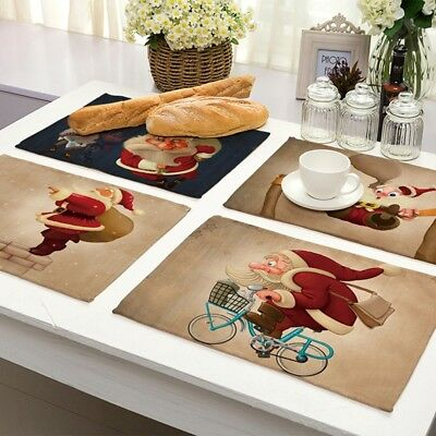 New Christmas Santa Claus Dining Linen Table Pads Home Party Decoration IT