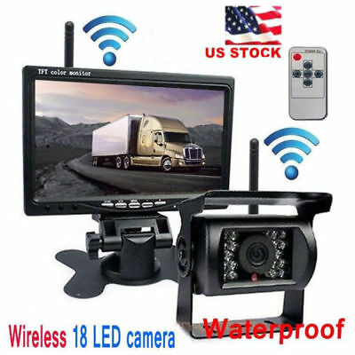 """7"""" Monitor + Wireless IR Rear View Back up Camera Night Vision for RV Truck"""