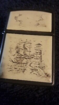 zippo collectible scrimshaw boat lighter