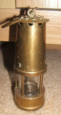 brass safety davey miners lamp 5 inches tall nice condition