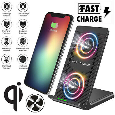 Qi Wireless Charger Fast Charging Dock Cooling Fan For iPhone X XS MAX XR 8P Lot