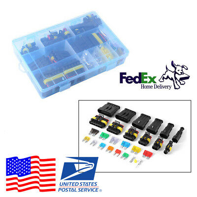1 2 3 4 5 6 Pin Way Electrical Wire Connector Terminal+Blade Fuses For Car SUV