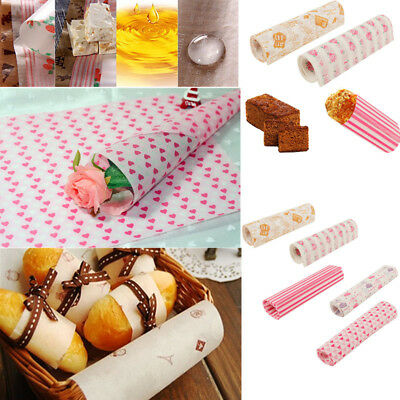 50Pcs Wax Food Candy Paper Hamburger Sandwich Cake Bread Packaging Greaseproof
