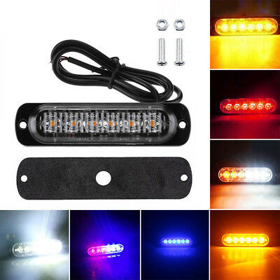 12-24V 6 LED 18W Slim Flash Light Bar Car Vehicle Emergency Warning Strobe Lamp