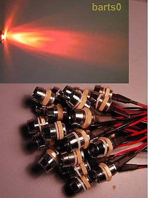 5X 10mm ROT LED LEDs 60mA Chromfassung 12Volt LEDSCHRAUBE SCHRAUBE SEHR HELL!
