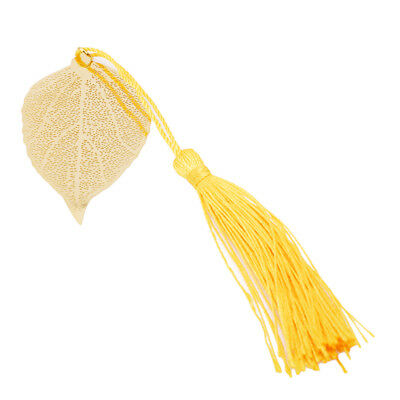 Mulberry Leaf with Chinese Knot Bookmarks Leaves Shape Creative Gold Metal BS