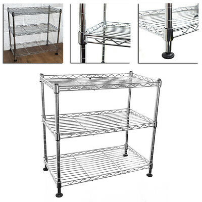 45x45x25cm Real Chrome Wire Rack Metal Steel Kitchen Garage Shelving Racks UKED