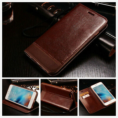 For iPhone X XS Max XR 8 7 Plus Genuine Leather Wallet Case Magnetic Flip Cover