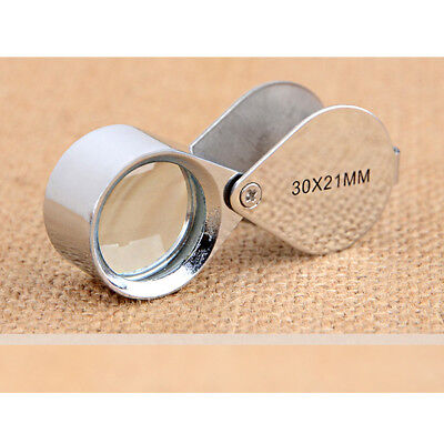 Foldable Pocket 30x Magnifier Jeweller Eye Lens 21mm Loop Magnifying Loupe Read
