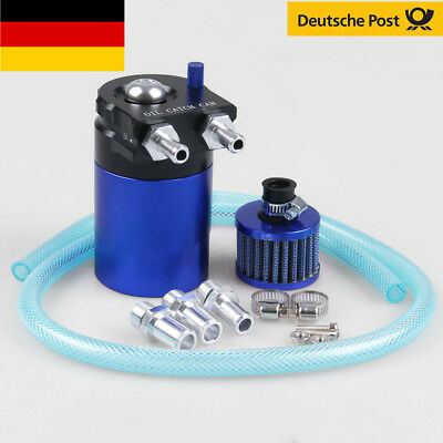 Cylinder Aluminum Engine Oil Catch Reservoir Breather Tank Can w/ Filter Blue