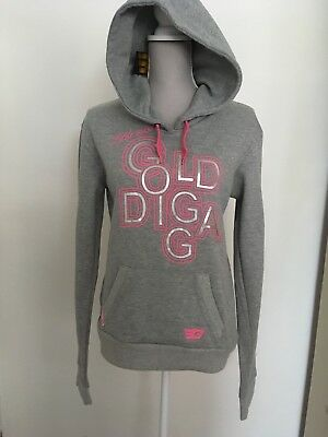 New Little Miss Golddiga Trendy Grey Marl & Pink Hoodie Top Size 16 Years