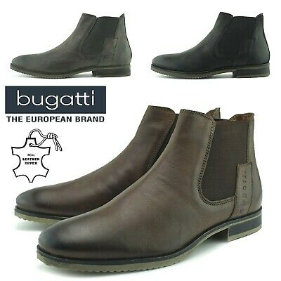 c91ca2bff4a65 Mens Real Leather Chelsea Bugatti Ankle Dealer Boots Smart Desert Shoes Size
