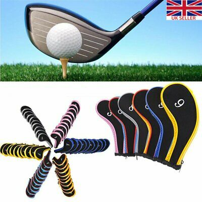 New 10Pcs Neoprene JL Golf Club Covers Headcovers Head Cover Iron Protect Set UK