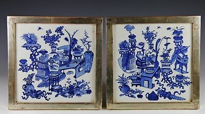 Superb Pair Of Antique Chinese Blue White Porcelain Tiles Plaques W Vessels #2
