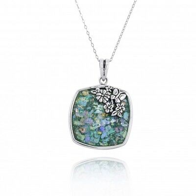 Ancient Roman Glass  925 Sterling Silver Pendant With Flowers and Butterfly