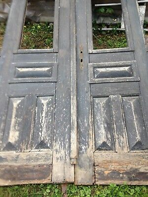 Antique  Vintage Oak double Door with handmade iron.