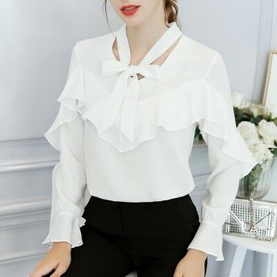 Women V-neck Tops Shirt Blouse With Bow Tie CasualLong Sleeve Office Shirt Tops