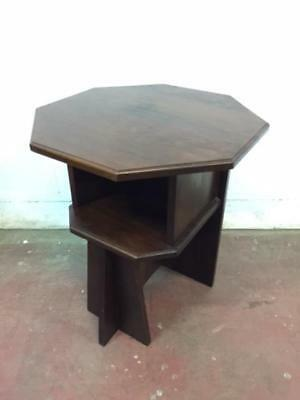 E37011 Vintage Arts and Crafts Occasional Table Bookshelf Deco