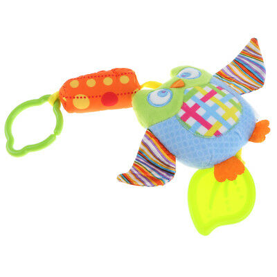 Baby Infant Crib Toy Soft Hanging Rattle Squeaky Toy with Teether - Owl