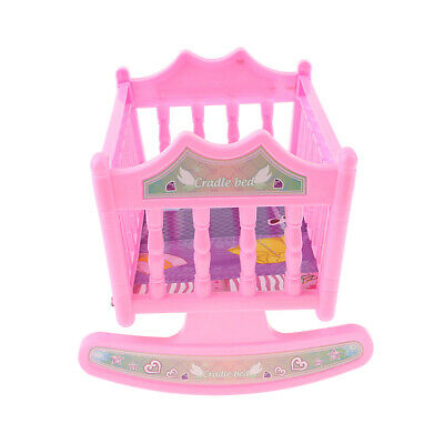 Rocking Cradle Crib Bed Baby Bedroom Furniture Accessory for 20cm Dolls Pink