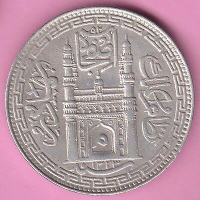 Hyderabad State-'mim' In Doorway-Ah:1323-One Rupee-Rare Beautiful Silver Coin-6