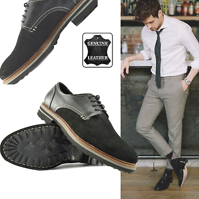 Mens Lace Up Black Shoes Genuine Leather Contrast Casual Brogues SmartShoes UK