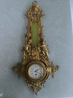 Antique Bronze Brass? Gilt Cartel Wall Clock with Cherubs Tutti Rococo ?