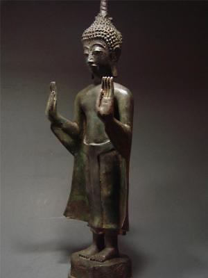 Antique Bronze Standing Lao Buddha Figure. Temple Relic. Laotian Art 18/19th c.