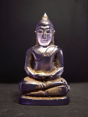 RARE. ANTIQUE 'PHRA HIN' PRECIOUS STONE MEDITATING BUDDHA AMULET. 14/15th C
