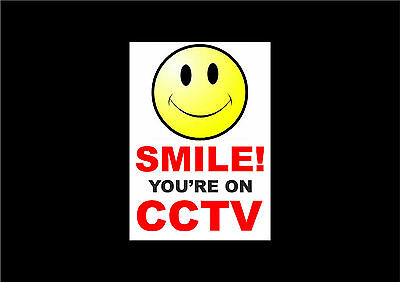 Packs Of 1, 2, 4 & 8 Smile! You're On CCTV A6 Semi Rigid Plastic Signs