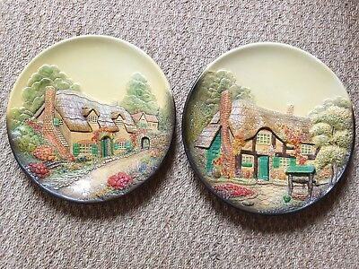 Pair Of Original Art Deco Plaster Wall Plaques Of Thatched Country Cottages.