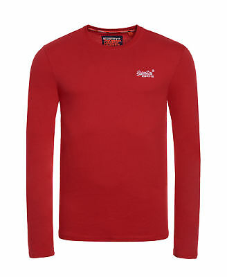 Neues Herren Superdry Orange Label L/S Emb Rot