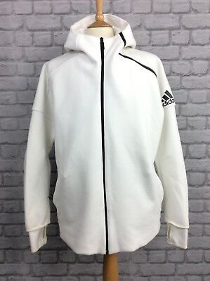 Adidas Mens Uk 2Xl White Full Zip Zne Hoodie Hooded Top Hoody Activewear Casual